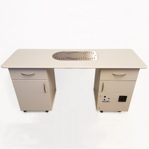 Double Pedestal Nail Desk with Fume Extraction & Dust Filtration